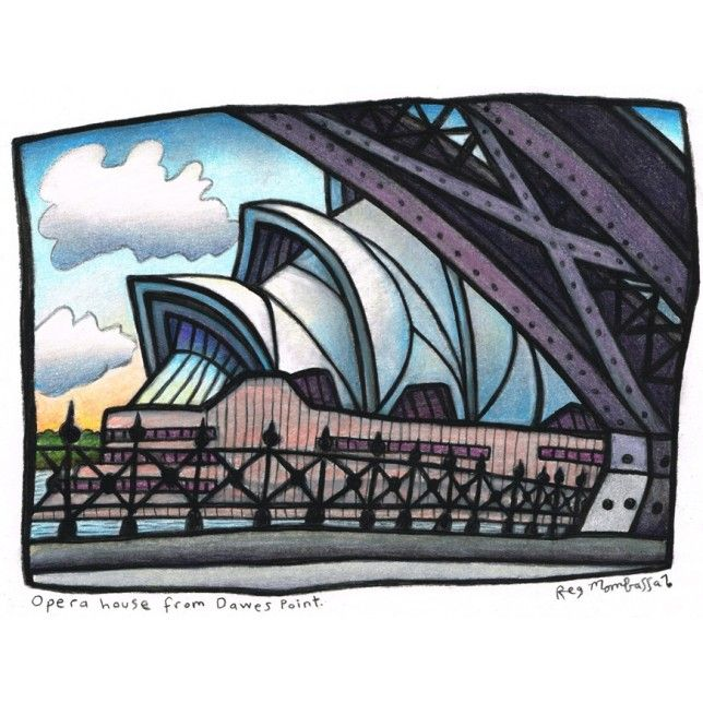 Opera House from Dawes Point by Reg Mombassa. Buy this signed, limited edition print at The SMH Shop.