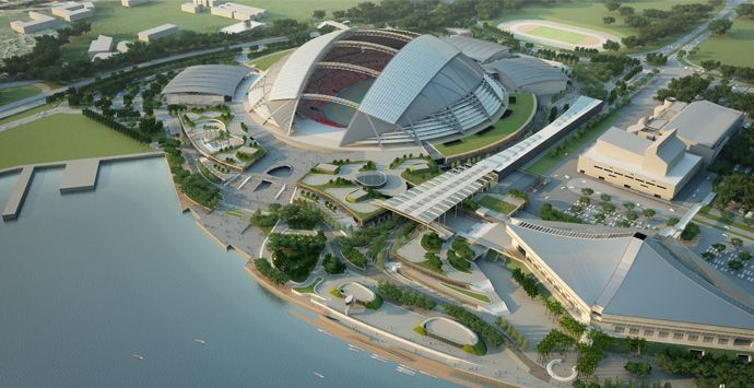 Signapore Sports Hub, Sinapore. AECOM is creating a parkland setting for the 35-hectare (86-acre) waterfront site that will encompass Singapore's new national stadium, an Olympic standard aquatic center, a sports library and museum, as well as retail, restaurant and entertainment space.