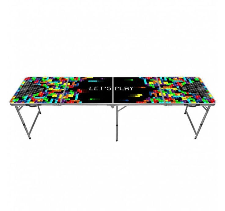 Table beer pong tetris table biere pong Table de beer pong officielle Tetris ! Table de bière pong aux dimensions officielles pour tournoi ou soirée apero. Cette table de beer pong est pliable et transportable sous forme de malette. Dimensions : 240 x 60 cm