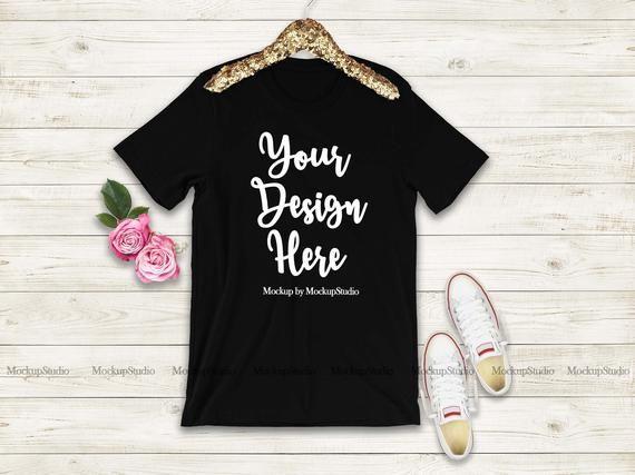 Download Black T Shirt Mock Up Bride Feminine Tee Mockup Blank Bella Etsy Black Tshirt Tshirt Mockup Shirts