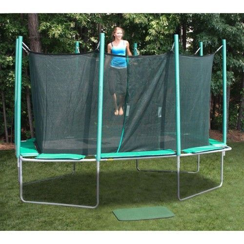 Kidwise Magic Circle Rectangle 9 x 14 ft. Trampoline with Enclosure, Green