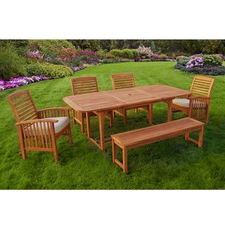 6 Piece Brown Wood Patio Dining Set Overstock Shopping Big Discounts On