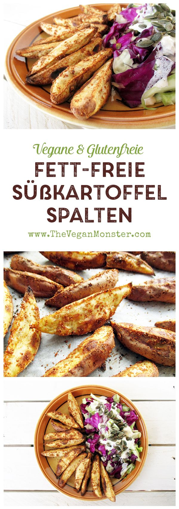 Fett-freie,+Knusprige+Süßkartoffelspalten+(Vegan,+Glutenfrei)