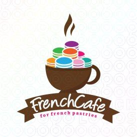 #French #Cafe #logo Perfect for French #cafe, #cafeteria, #coffee shop or French #restaurant , #cake / #cupcake shop, #confectionery shop, #patisserie shop or factory, #dessert recipe site, #pastry shop and more.