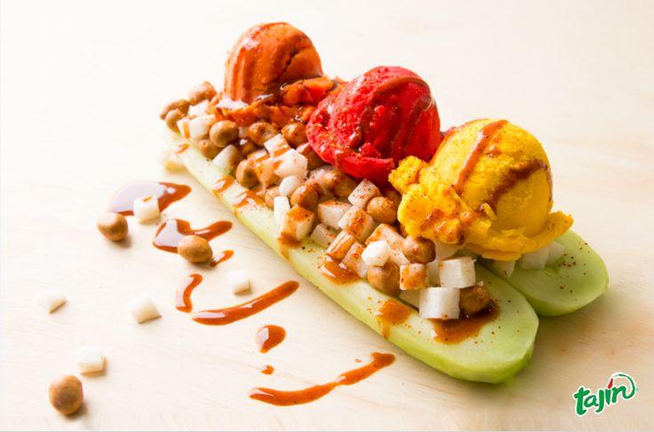 Forget the banana split and try the #cucumber Split!  #sorbet #jicama #Tajin