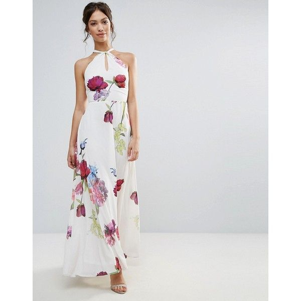 Hope & Ivy Floral Knot Tie Front Maxi Dress ($72) ❤ liked on Polyvore featuring dresses, purple, cut-out dresses, tall maxi dresses, cutout dresses, high waist maxi dress and floral maxi dress