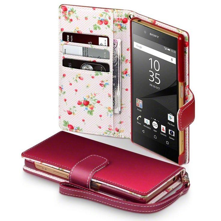 Terrapin Θήκη Πορτοφόλι Wallet Case (117-005-383) Red - Flowers (Sony Xperia Z5)