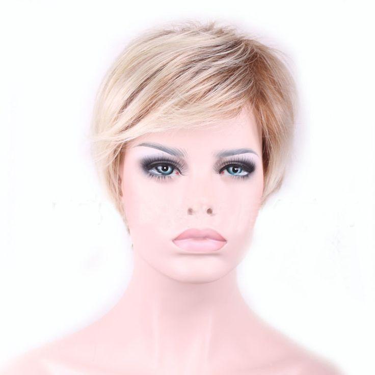 Neue Hochwertige Kühlen Frauen Blonde Perücke Hitzebeständig Kurze Perücken für Frauen Gefälschte Haar Pixie Cut Weiblichen HB88