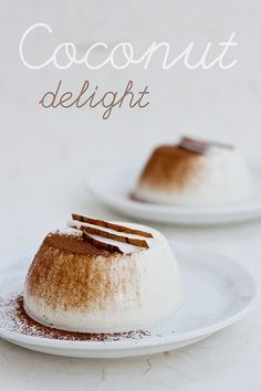 Coconut Pudding,   Ingredients:  400 ml coconut milk (1 Pack)250 ml fresh cream (1 Pack)100 g sugar (4 tablespoons)4 sheets of gelatin1 pinch of saltbitter cocoa and fresh coconut for garnish