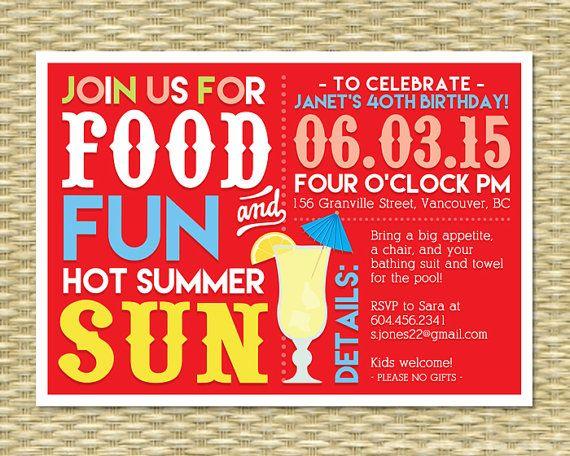 40th Birthday Invitation Summer Birthday BBQ Margarita Party Adult Pool Party Adult Milestone Birthday, 30th Birthday, ANY EVENT, Any Colors