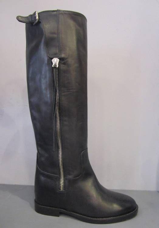 VIA ROMA 15 Bottes cavalières en cuir lisse noir modèle SAINT BARTH