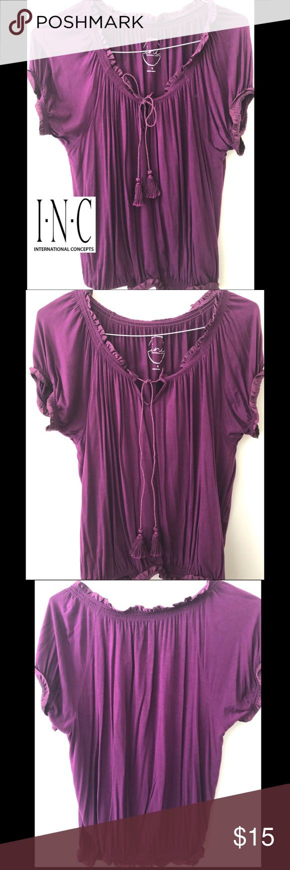 INC. FRONT TASSEL TIE TEE 💜 INC. PURPLE TEE- tassels tie in front- can be worn several ways (bow, tied or open). Adorable paired with jeans 💜 INC International Concepts Tops Tees - Short Sleeve