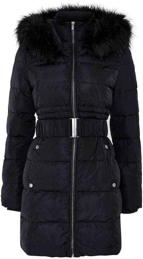 Petite Black Padded Coat