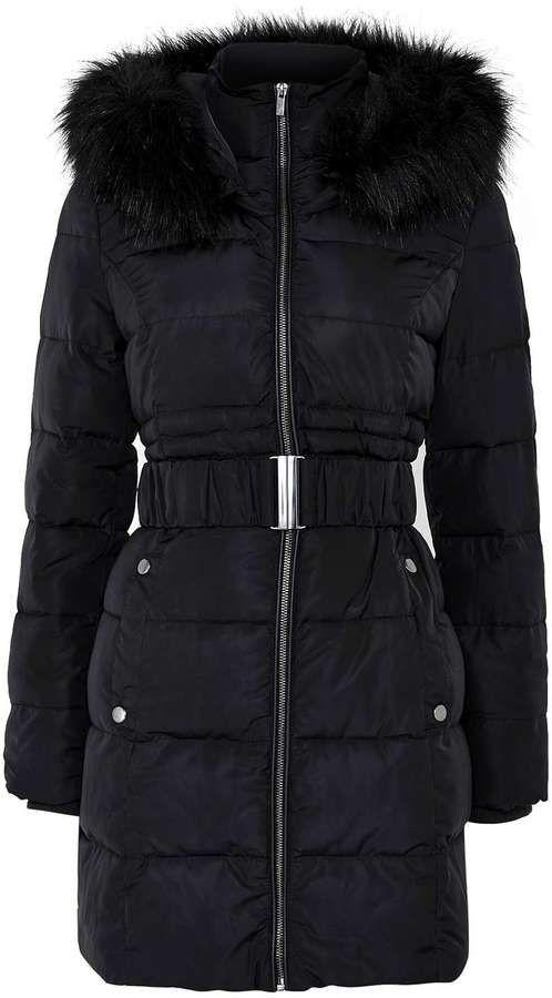 Petite Black Padded Coat