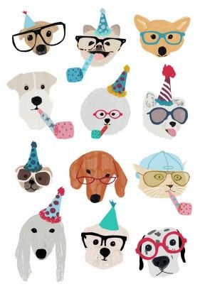 Celebratory Dogs|Funny Happy Birthday Card Celebratory Dogs. Looks like you're going to have a wild time with these party animals. Check out the hipster sunglasses and caps. You'll be barking mad to miss it. A great celebratory birthday, anniversary or congratulations card. Perfect for a dog loving friend or family member.
