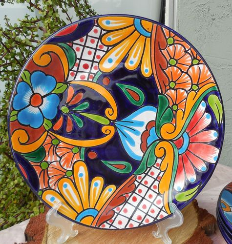 """Talavera Mexican Pottery Lunch Dinner Plate 11 3 4"""" Hand Painted Lead Free CD   eBay"""