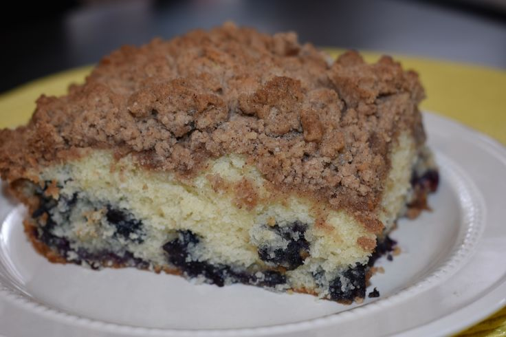 Moist yellow cake with sweet blueberries and a delicious cinnamon crumb topping!