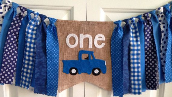Little Blue Truck theme High chair banner ~ birthday banner ~photo prop ~gender neutral ~rag banner ~ cake smash ~burlap banner ~one banner