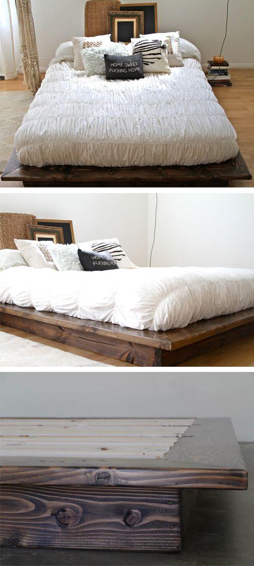 Floating Platform Bed Frame / Perfect for a studio loft space. Modern Furniture / Home Decor / Interior Design / Artisan Made by pereidarice.etsy.com