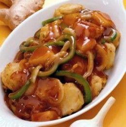 Delicious Chinese brown sauce with vegetables.