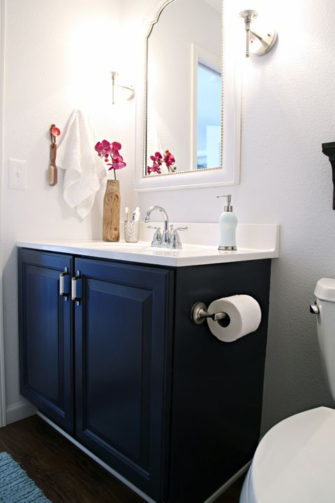 Before After The Little Bathroom Blue Vanity White Subway Tilearble Tiles
