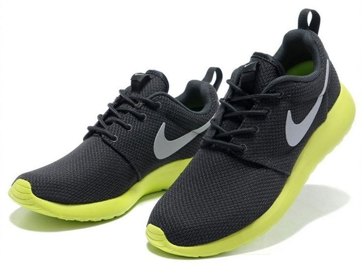 Breathable Nike Roshe Run Mens White Black Shoes Cheap