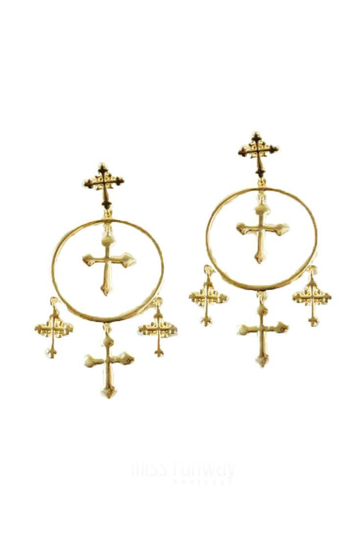 Miss Runway Fashion - Crossing Paths Earrings - Gold