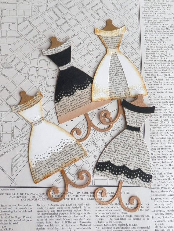 dress form die cuts recycled book paper by jardindepapier on Etsy, $4.75