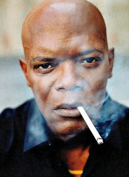 "Samuel L. Jackson is a style Icon! Love this pic of him and the smoke just oozes ""Bad Ass"""