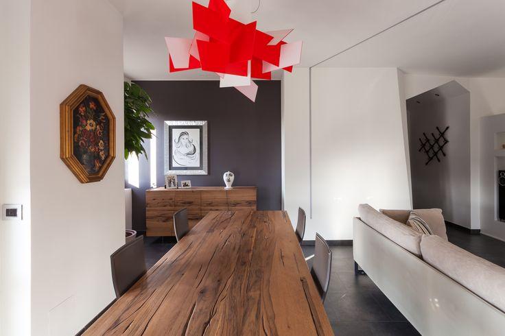 #interior #modern #minimalist #foscarinilamp #touchofred #contrast #diningroom&livingroom #woodtable