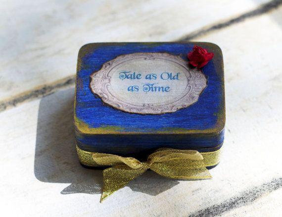 Belleza y la caja de anillos de boda de bestia por CraftPointPL
