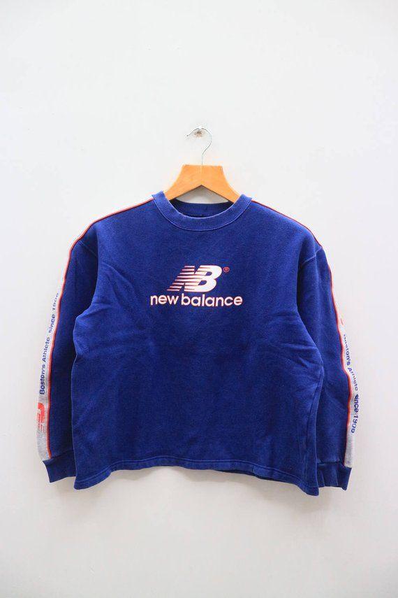 34aee408b6978 Vintage NEW BALANCE Boston Athlete Big Logo Blue Pullover Sweater ...