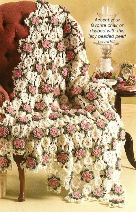 X993 Crochet PATTERN ONLY Rose Beaded Coverlet Lacy Afghan