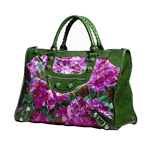 Balenciaga green leather with flowered print weekender bag...