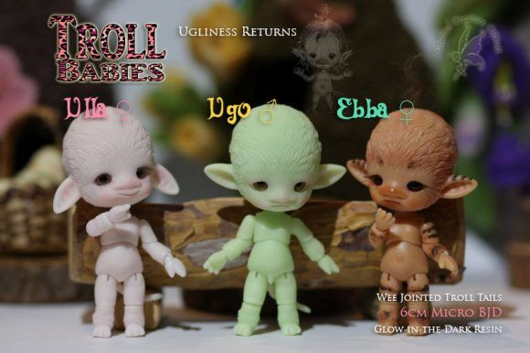Charles Creature Cabinet has release another round of Troll Babies for pre-order. Ulla, Ugo, and Ebba are each being released in various forms. Each one stands about 2.35 inches tall and glows in the dark. The Troll babies all come with faceup, random colored glass 6mm eyes, special pillow pouch and card of authenticity signed and numbered by Charles.