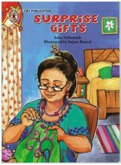 Rs. 20. Surprise Gifts, Asha Nehemiah, Sujata Bansal, Children's Book Trust, 16 Pages, Paperback. When Farida aunty, a do-it-yourselfer made gifts for her brother's family, she sent apple jam, a hair clip, a lamp shade and a pen stand. How on earth did that become glue, a CD cleaner, a skirt and a hose pipe?