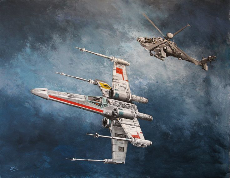 X-Wing and AH Apache in Rebel Alliance.  There are no prints available for this painting due to copyright restrictions.