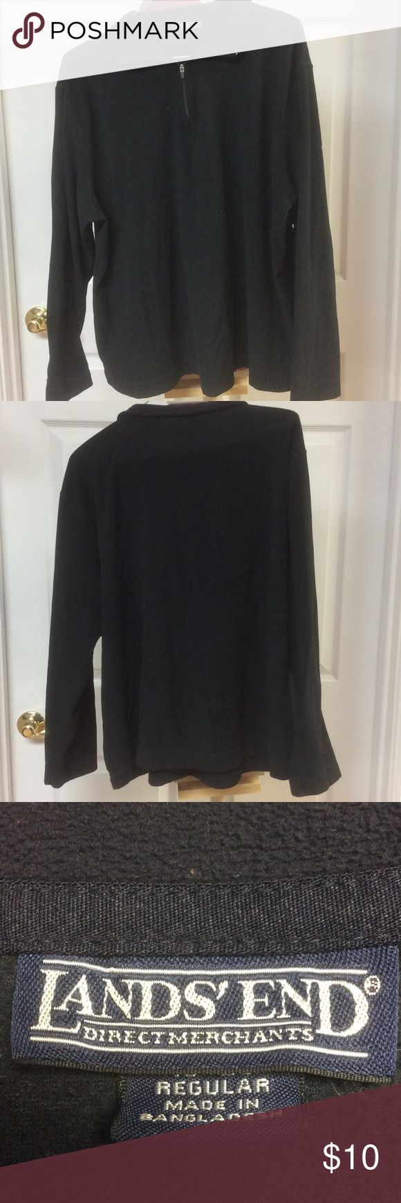 Lands End Black Fleece Pullover Sz XL 18-20 For sale we have a Lands end black pullover sweater with a navy collar size XL 18-20. Great shape no tears or stains. Lands' End Tops Sweatshirts & Hoodies