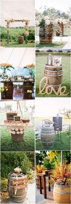 35 Creative Rustic Wedding Ideas to Use Wine Barrels | http://www.deerpearlflowers.com/35-creative-rustic-wedding-ideas-to-use-wine-barrels/