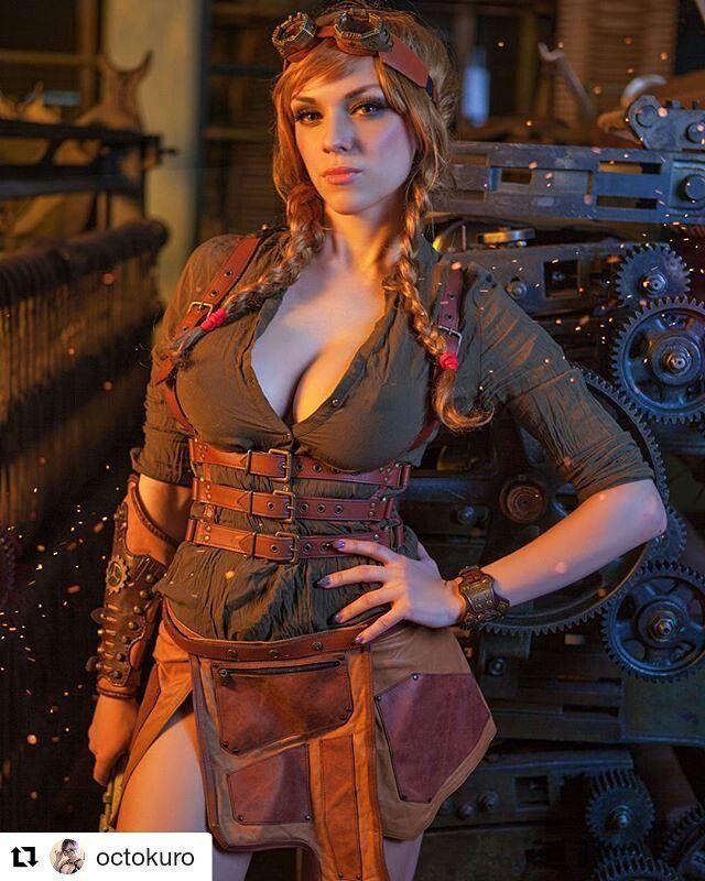 #Repost @octokuro (@get_repost)  Greetings! From Steampunk mechanic!  Outfut by: @atomfashion #steampunk #steamgirl #wig #redhead #ocrokuro #octoboobies #harness #mechanic #googles #skirt #altmodel #altgirl