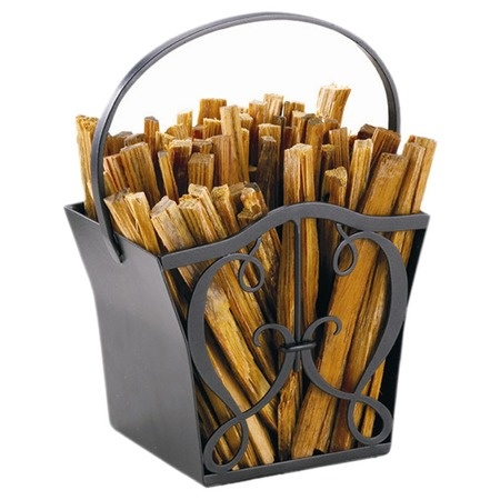 """Love this! Would also make a great magazine or """"stuff"""" holder.: Fatwood Caddy, Irons Wood, Cozy Cabin, Caddy Construction, Fireplaces Hearth, Fireplaces Accessories, Cypher Fatwood, Products, Wrought Irons"""