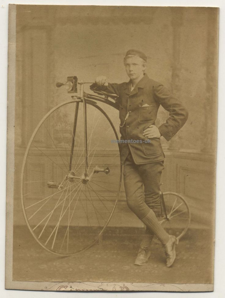 Carl Mitchell with his Penny Farthing Bicycle Cabinet Photograph c1880 London