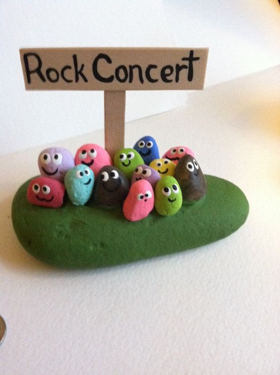 ROCK CONCERT ROCKS Painted Stones-Painted by SallyStones on Etsy