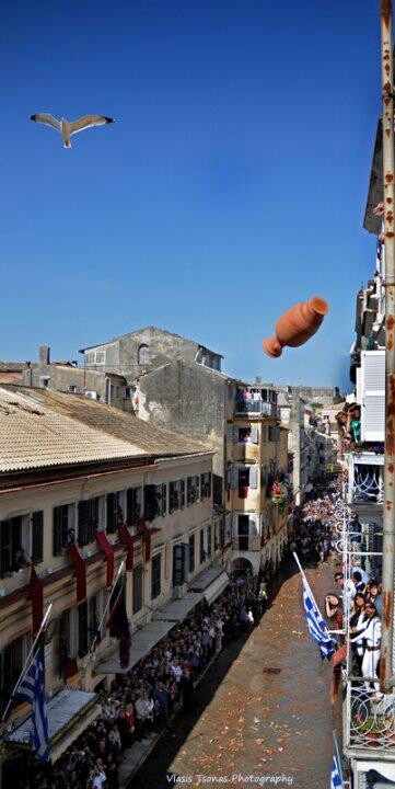 Pot throwing - Traditional Easter celebration of #Corfu!