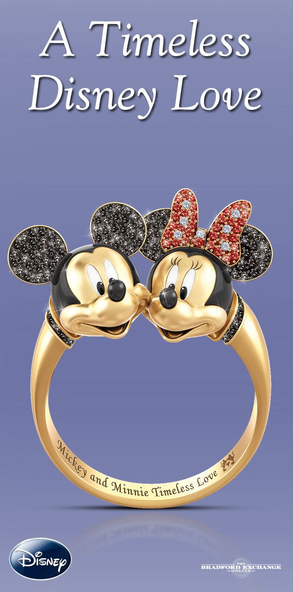 Celebrate a timeless Disney romance with this 18K gold-plated ring featuring a fully-sculpted design of Mickey Mouse and Minnie Mouse.