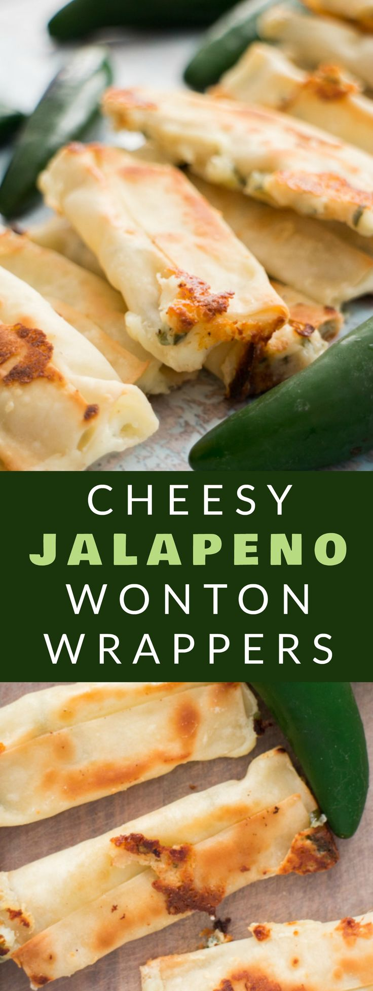 SUPERBOWL CHESSY JALAPENO WONTON POPPERS are so easy to make with wonton wrappers! This simple recipe uses cream cheese and jalapenos to wrap up in wonton wrappers! Bake them in the oven and serve them as a healthy appetizer! Everyone always LOVES these baked snacks!