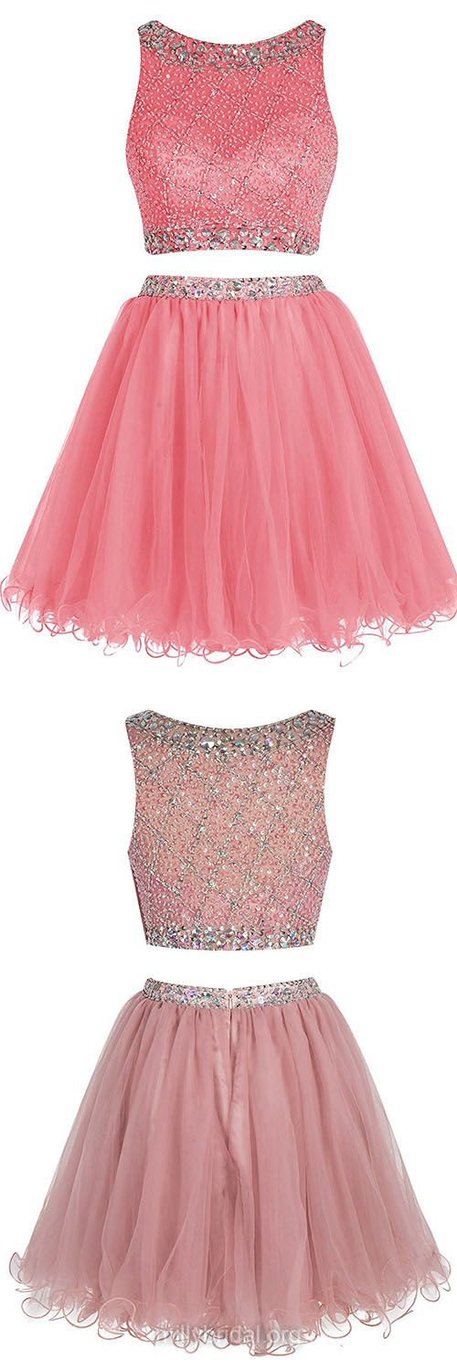 Junior Two Piece Prom Dresses, A-line Scoop Neck Homecoming Dresses,Tulle Short/Mini Cocktail Dress,Beading Evening Party Gowns
