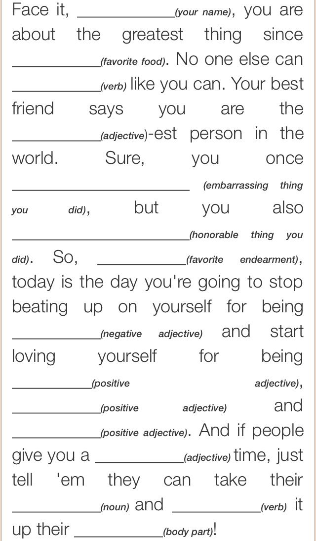 Self-Esteem Mad Lib