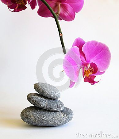 Spa stones and an orchid