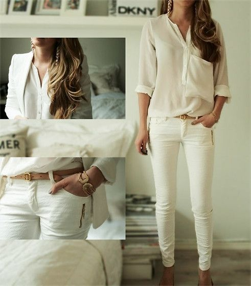 white out.: Blouses, Chicken Wraps, Black Outfits, Dreams Closet, Style Inspiration, White On White, White Pants, All White Outfits, Casual Outfits